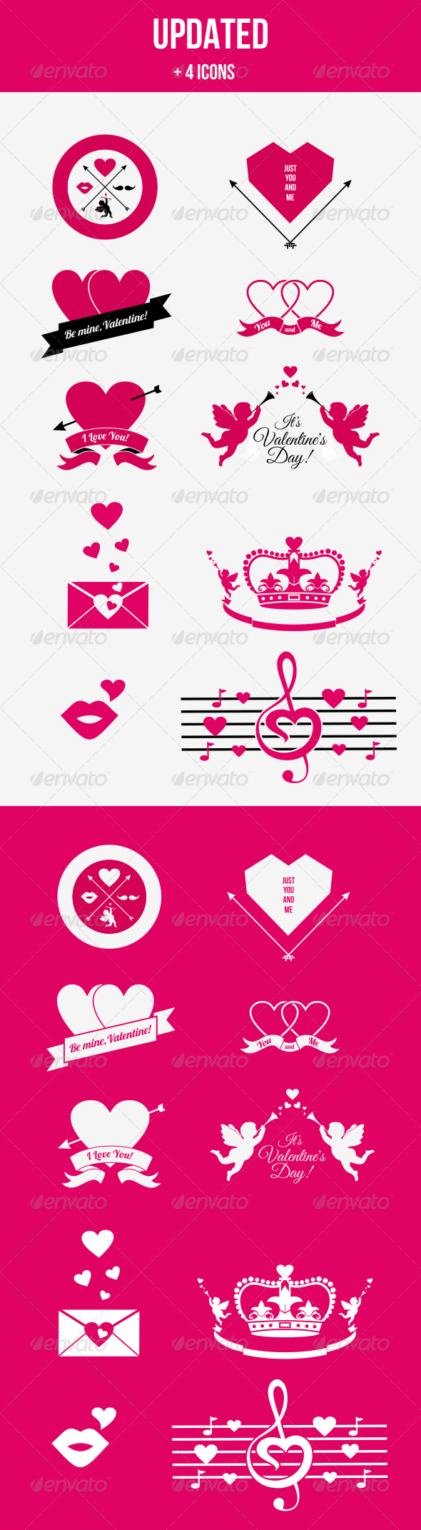 Hipster Valentine Badges and Icons (Updated) - Valentines Seasons/Holidays