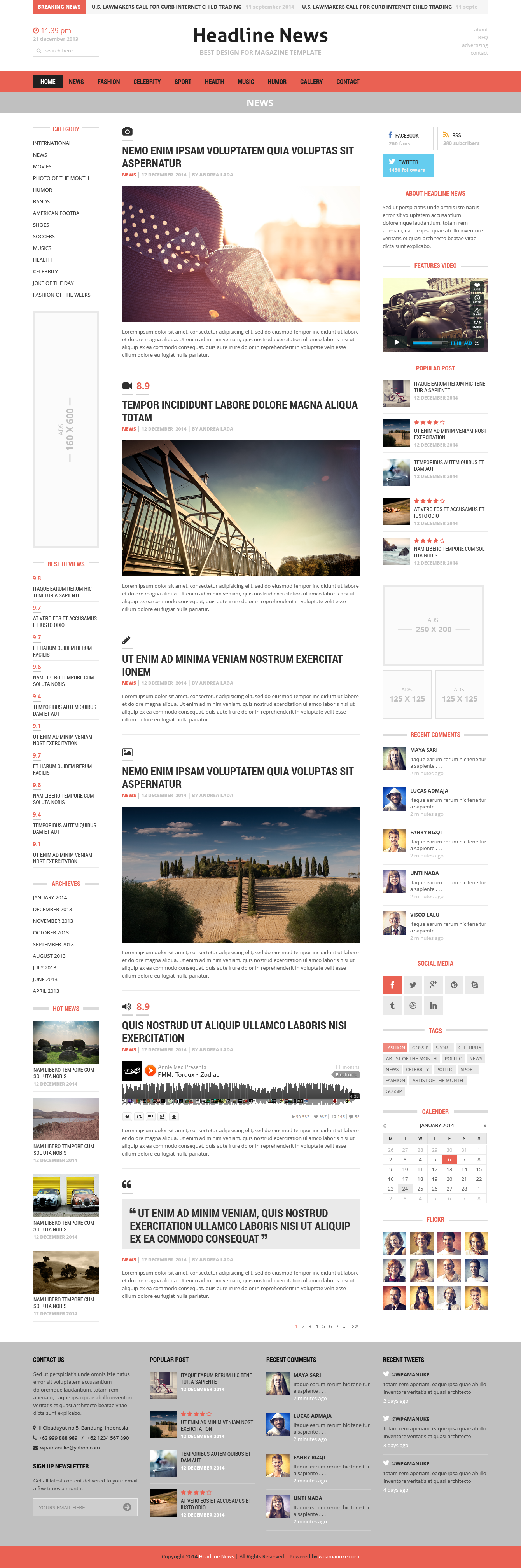Headline News Magazine Psd Template By Wpamanuke Themeforest