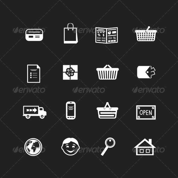 Collection of E-Commerce Interface Pictograms - Web Technology