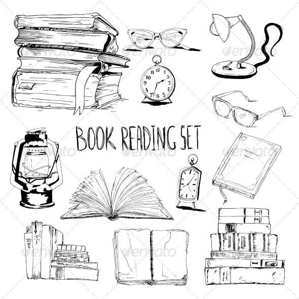 Books Reading Set - Decorative Symbols Decorative