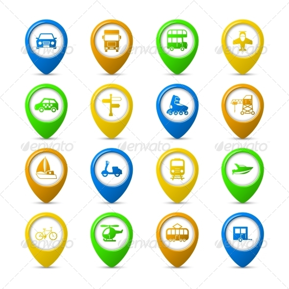 Navigation Pins Set - Travel Conceptual