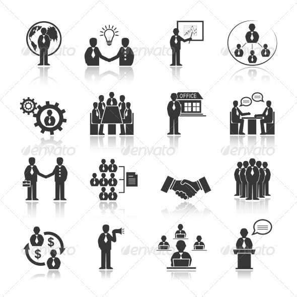 Business People Meeting Icons Set - Web Elements Vectors