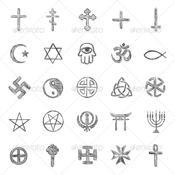 Religious Symbols - Religion Conceptual