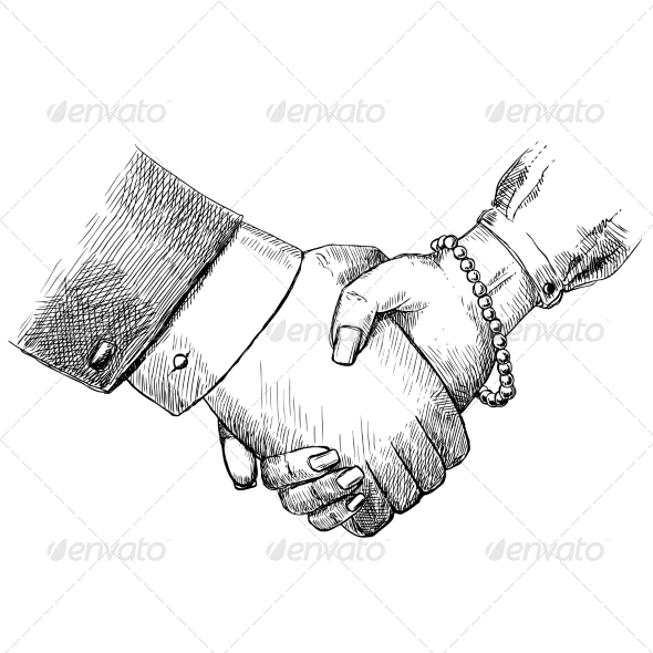 Business Handshake Man and Woman - Concepts Business