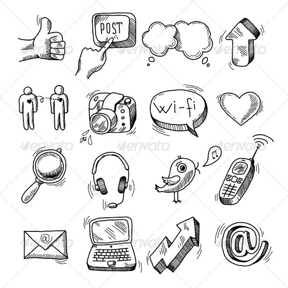 Doodle Social Icons Set - Web Elements Vectors