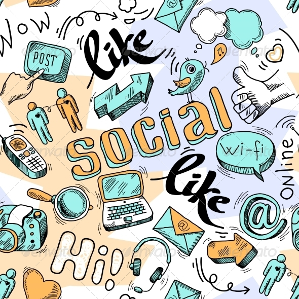 seamless doodle social media pattern background by macrovector