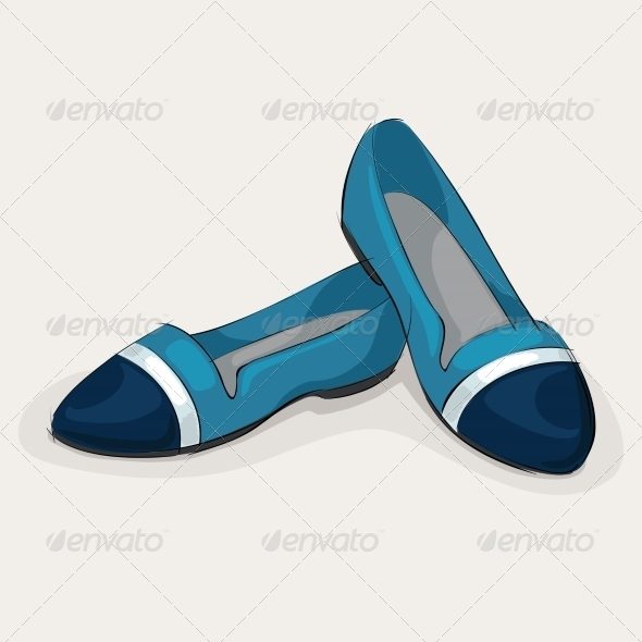 Blue Ballet Flats - Retail Commercial / Shopping