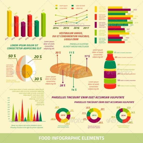 Food infographics flat design elements - Infographics