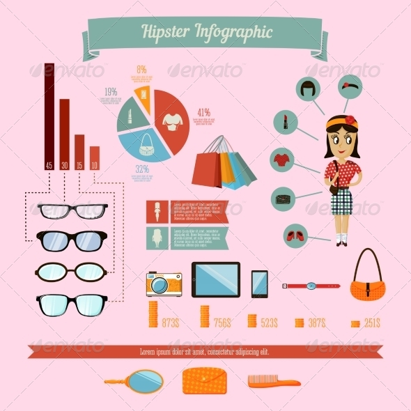 Hipster Infographics Elements Set with Geek Girl - Infographics