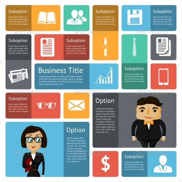 Flat Business Infographics Design Elements - Concepts Business