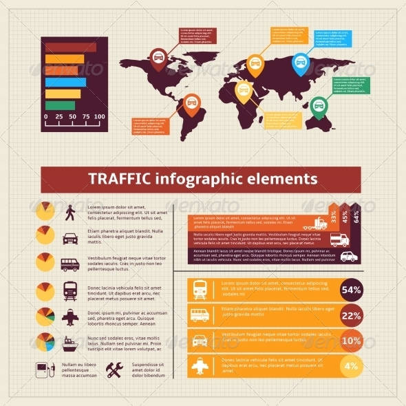Transport Traffic Infographics Elements - Infographics