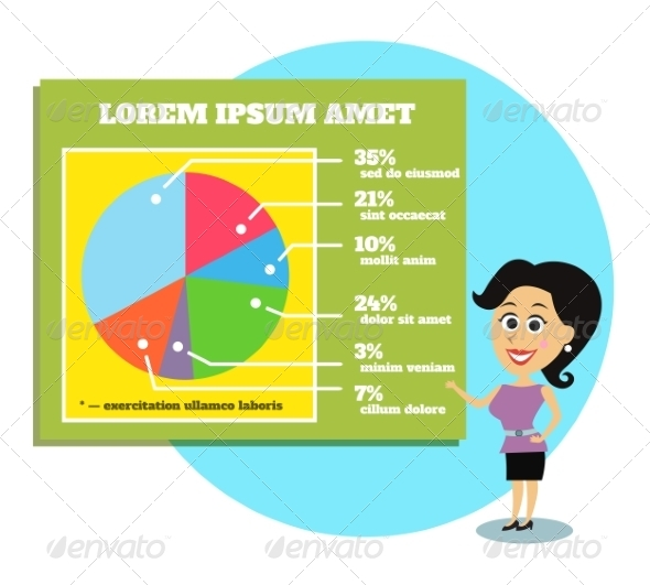 Businesswoman Presenting Graphs and Charts - Concepts Business