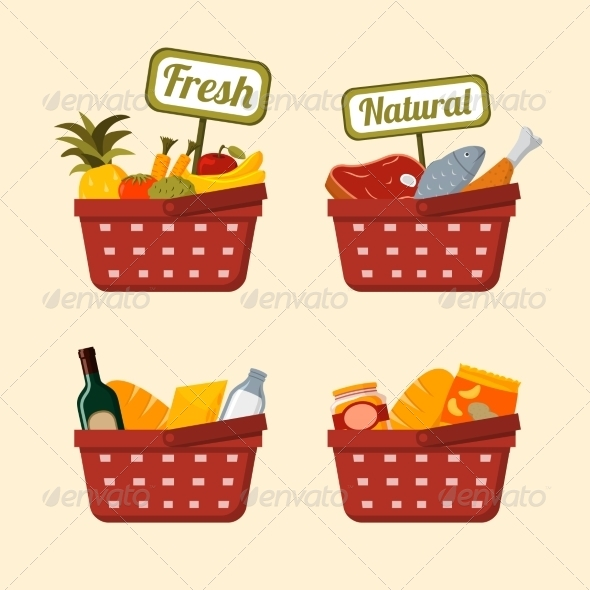 Shopping Basket Set with Foods - Retail Commercial / Shopping