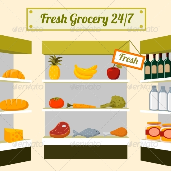 Fresh Grocery Foods on Store Shelves - Concepts Business