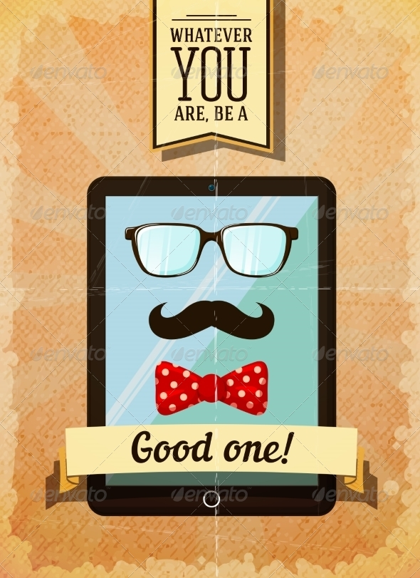 Hipster Poster with Vintage Tablet - Backgrounds Decorative