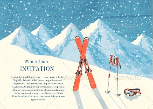 Ski Winter Mountain Landscape Card - Landscapes Nature