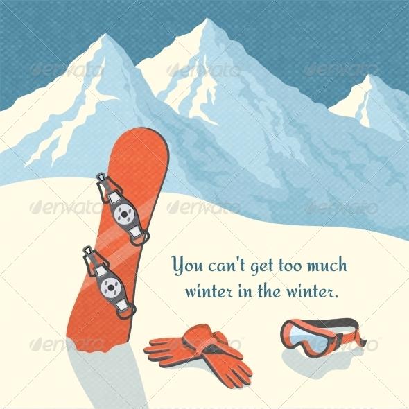 Snowboard Winter Mountain Landscape - Sports/Activity Conceptual
