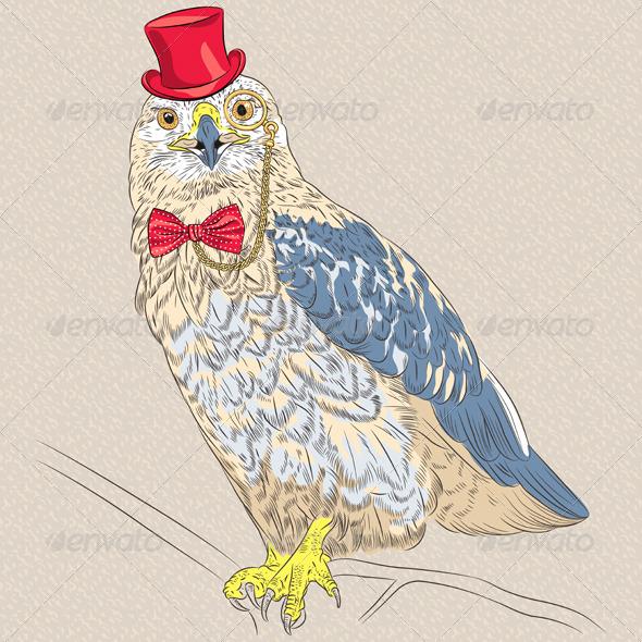 Hipster Bird Rough-Legged Buzzard - Animals Characters