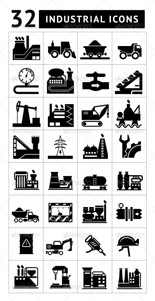 Set of Industrial Icons Isolated on White - Technology Icons