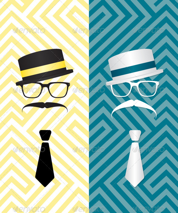 Hipster Black and White Illustration - People Characters