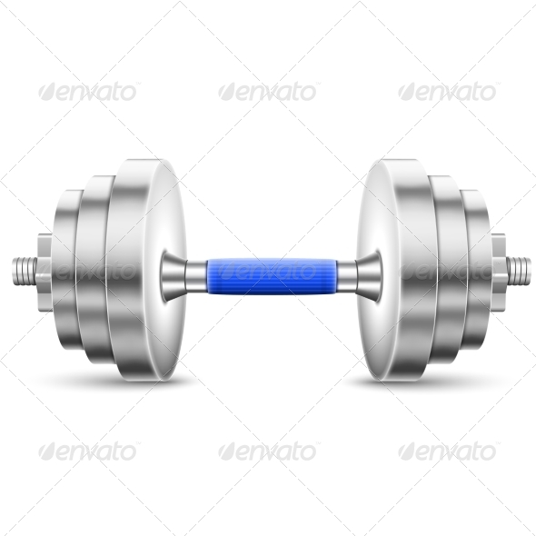 Metallic Glossy Dumbbell Isolated On White. - Health/Medicine Conceptual