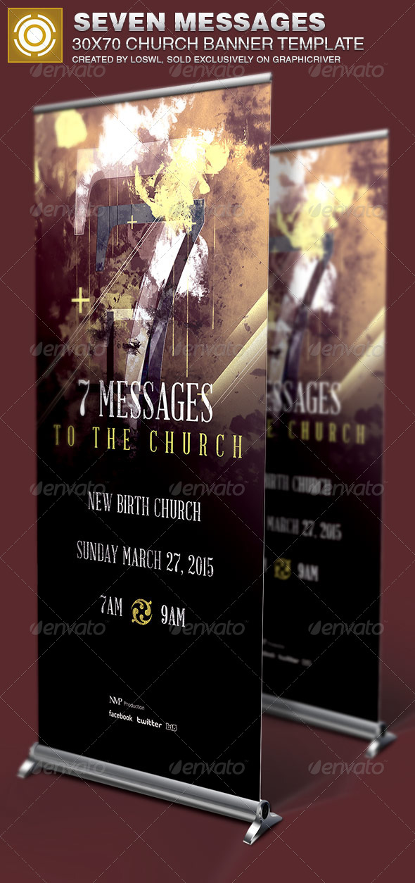 Seven Messages Church Banner Template - Signage Print Templates