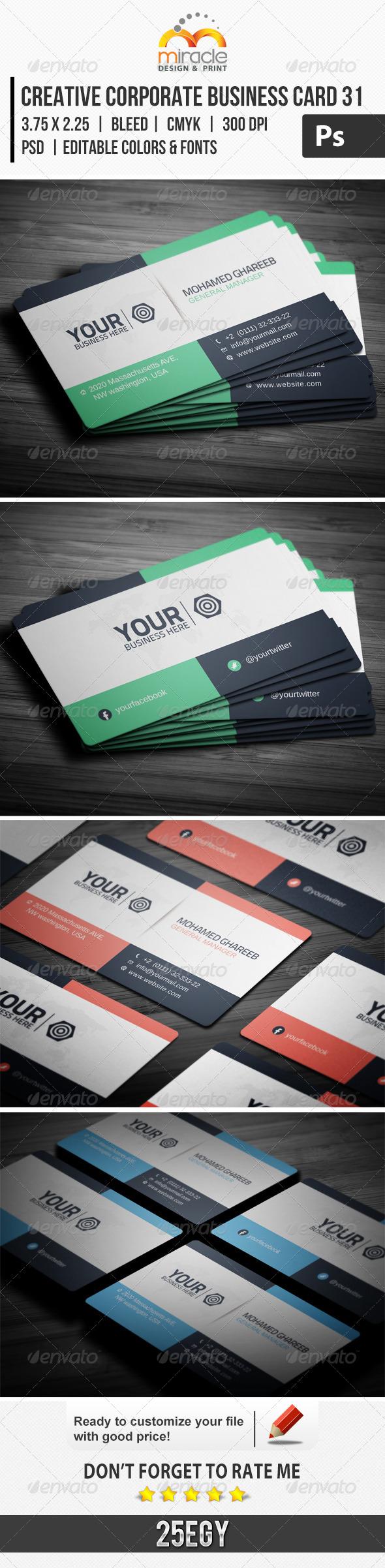 Creative Corporate Business Card 31 - Corporate Business Cards