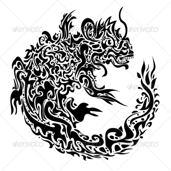 Twisted Dragon Tattoo - Tattoos Vectors