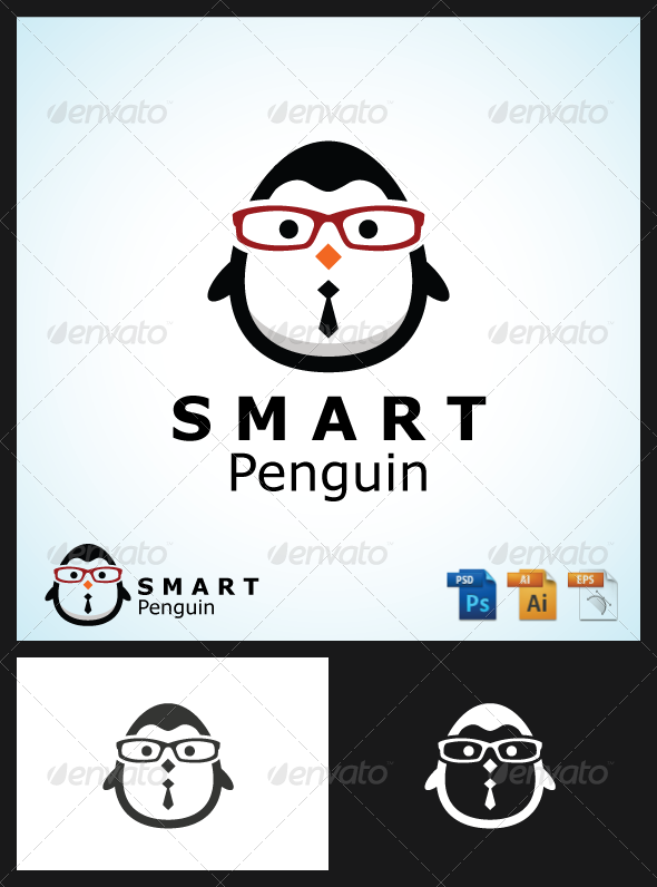 Smart Penguin Logo - Animals Logo Templates