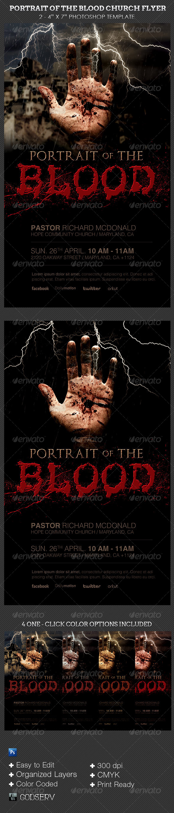 Blood Portrait Church Flyer Template - Church Flyers