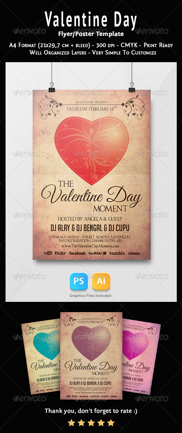 Valentine Days Flyer Templates - Clubs & Parties Events