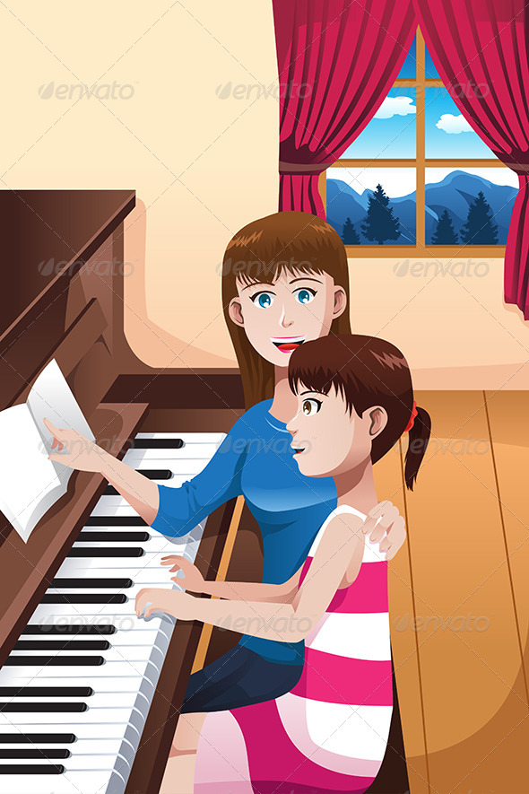 Girl Learning to Play a Piano - People Characters