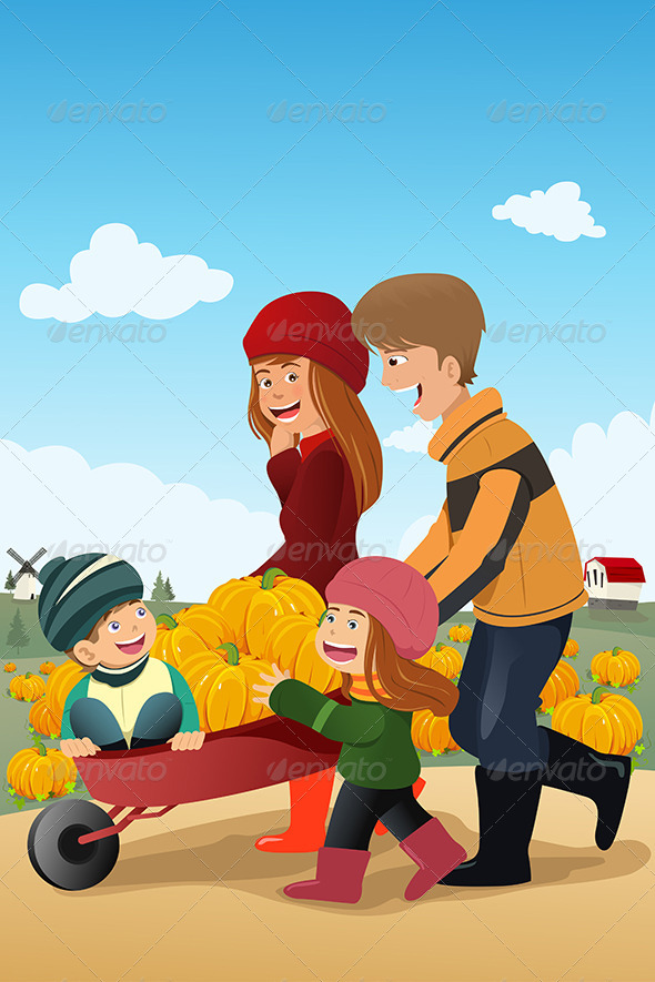 Kids and Their Parents on a Pumpkin Patch - People Characters