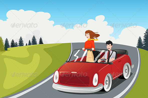 Couple Riding a Car going on a Road Trip - Travel Conceptual