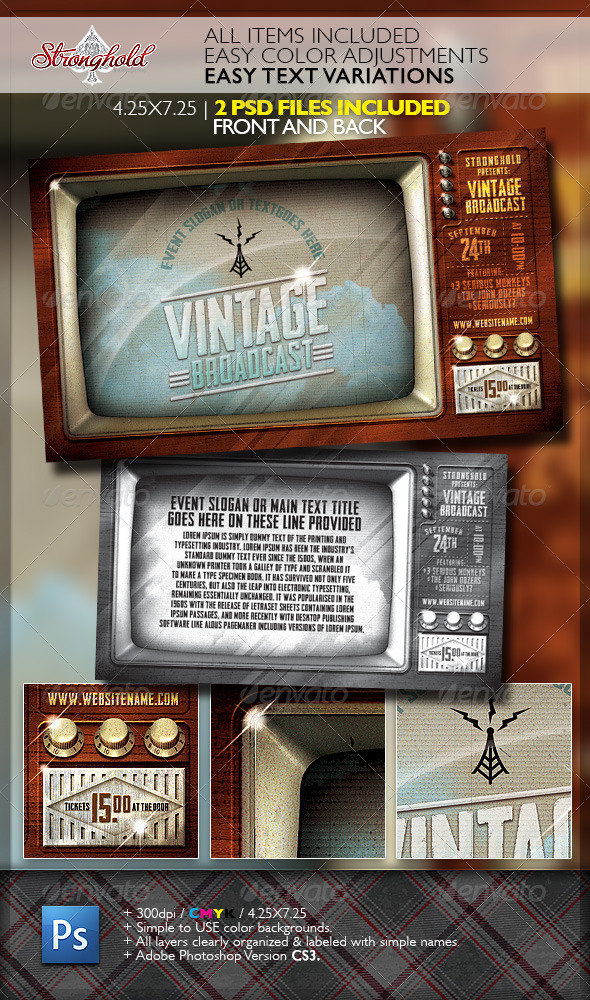 Vintage Television Broadcast Flyer Template - Events Flyers