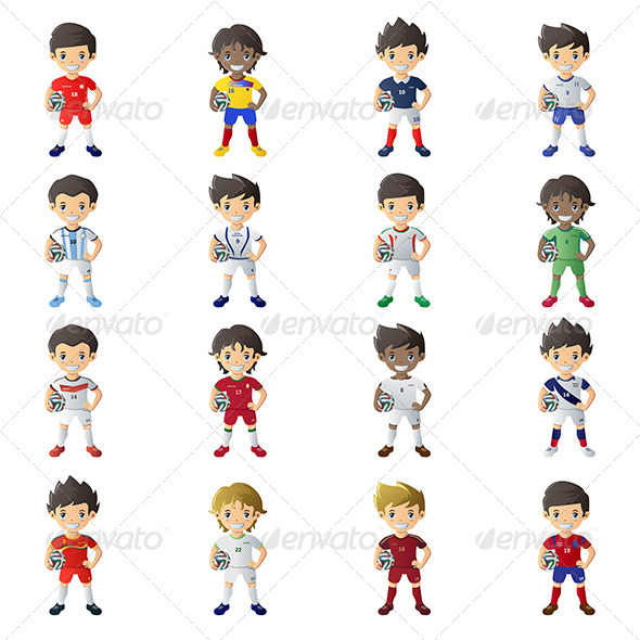 Boys with Soccer Jersey's and Balls - Sports/Activity Conceptual