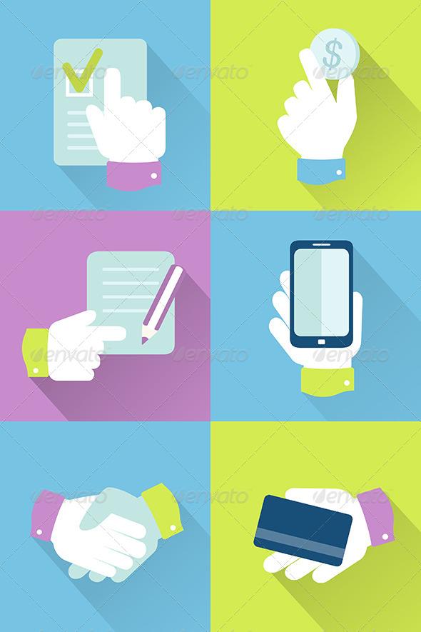 Business Icons Flat Design - Business Conceptual