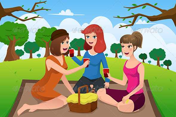 Women having a Picnic - People Characters