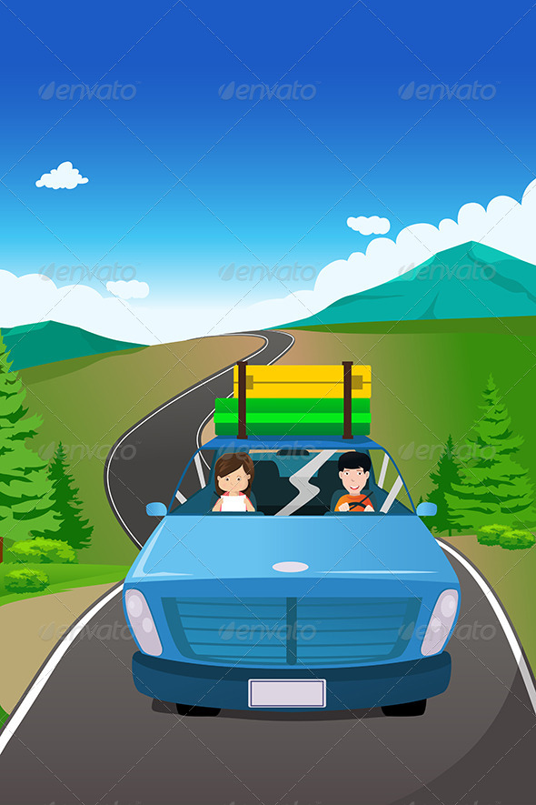 Couple Riding in a Car on a Road Trip - Travel Conceptual