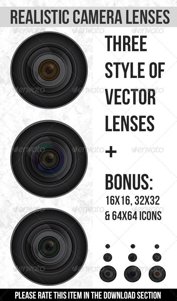 Realistic Vector Camera Lenses - Objects Vectors