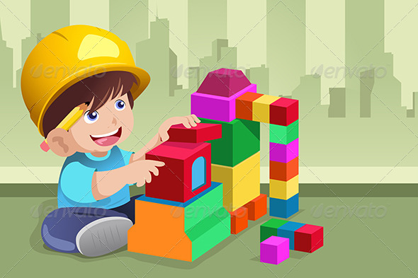 Kid Playing with His Toys - People Characters