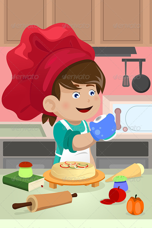 Kid Cooking in the Kitchen - People Characters
