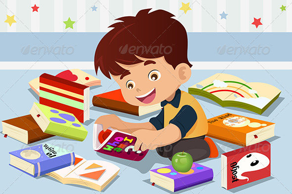 Boy Reading a Book - People Characters
