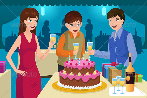 Young People Celebrating a Birthday Party - People Characters