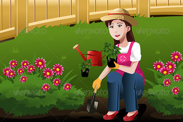 Young Woman Working in the Yard - People Characters