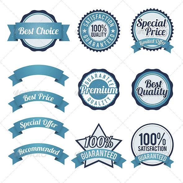 Badge and Ribbon Design Elements - Decorative Symbols Decorative