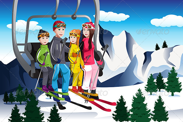 Family Going Skiing Sitting on a Ski lift - People Characters