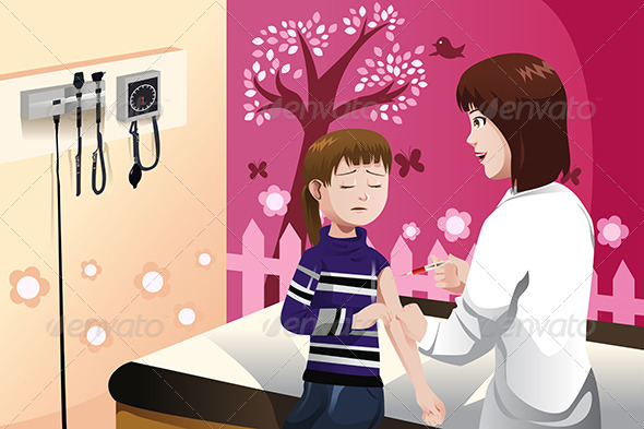Kid Getting a Flu Shot by a Doctor in the Arm - Health/Medicine Conceptual