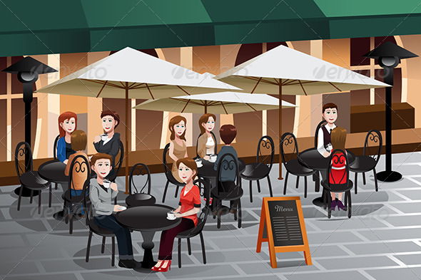 People Enjoying Coffee Outside of a Cafe - People Characters