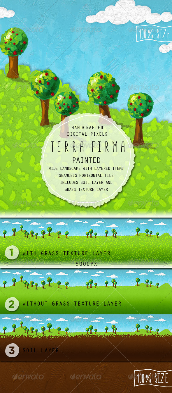 Terra Firma Painted Background - Backgrounds Game Assets